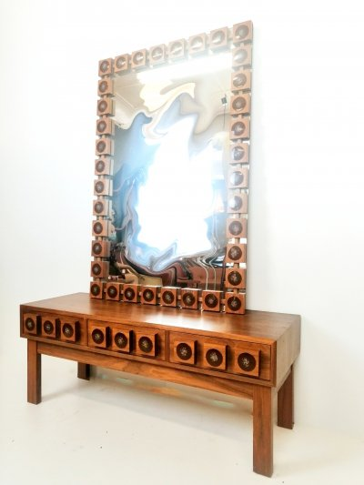 Hall set with mirror & chest of drawers by AB Glas & Trä, Sweden 1970s