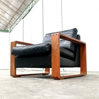 Leather & oak lounge chair, Finland 1960s
