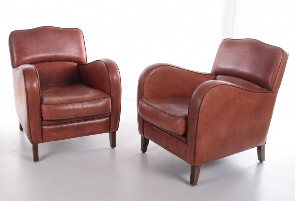 Set of armchairs with comfortable seating in sheepskin leather