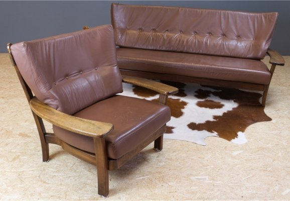 Brazilian seating group in solid rosewood & brown leather, 1960s