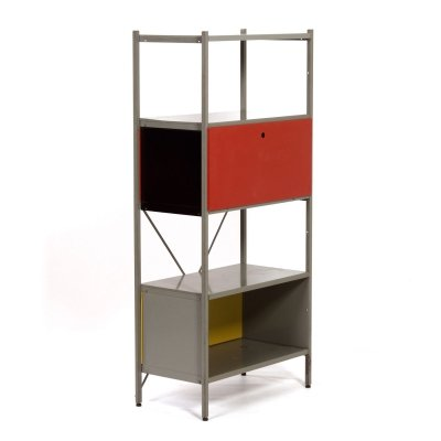 Red, Black & Yellow Model 663 Cabinet by Wim Rietveld for Gispen, 1950s