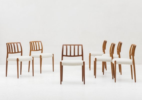 Set of 7 'model 83' dining chairs by Niels O. Moller, Denmark 1960