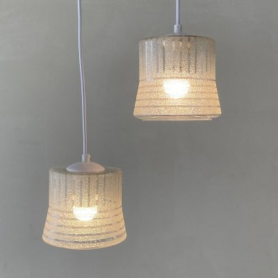 Set of 2 glass hanging lamps, Sweden 1970s