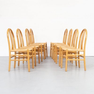 Set of 8 Annig Sarian round bend wooden dining chair for Tisettanta, 1980s