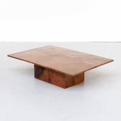 Copper etched coffee table, 1970s