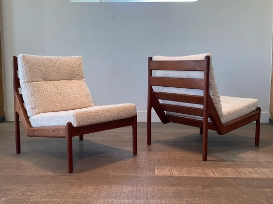 Slipper Lounge Chairs in teak & bouclé by Illum Wikkelso for CFC Silkeborg