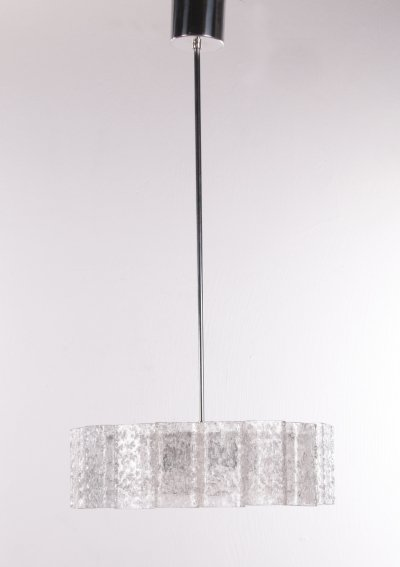 Pair of ice glass hanging lamps by Doria Leuchten, 1960s