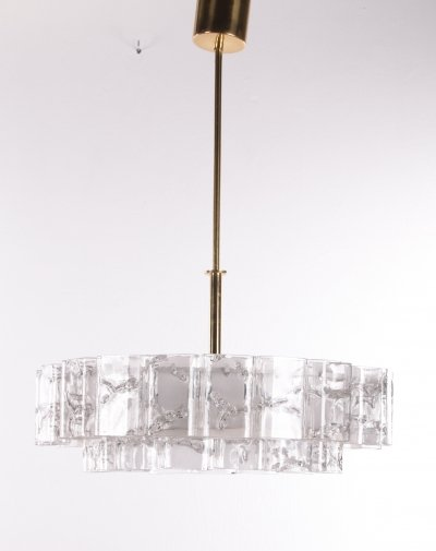 2 Golden Doria hanging lamps with double edge icicles, 1960s