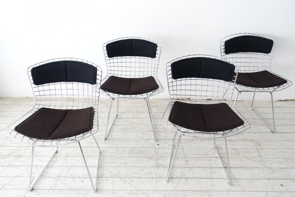 Set of 4 Harry Bertoia for Knoll 'Model 420' dining chairs with black & brown cushions, 1980s