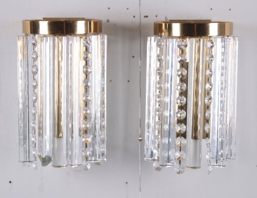 Pair of Hollywood Regency Style Glass & Brass Wall Lamps, 1970s