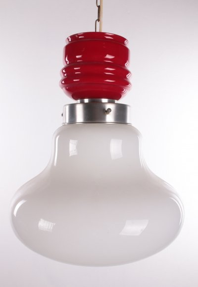 Vintage Hanging lamp with red & white milk glass, 1960s