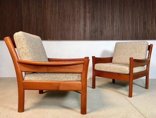 Pair of Danish Solid Teak & Wool Easy Chairs from Dyrlund, 1960s