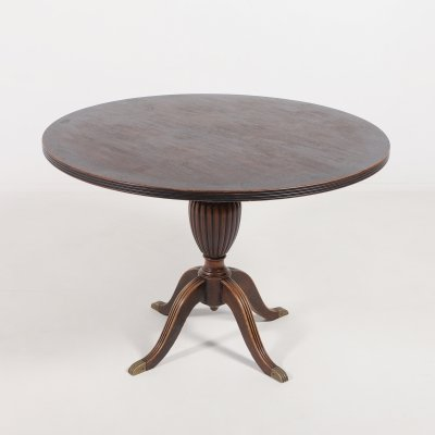 Italian round dining table with brass feet, 1950's