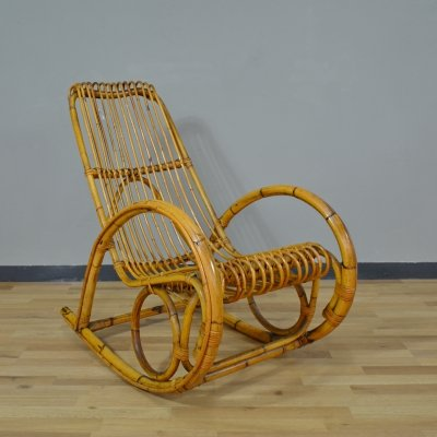Vintage Bamboo Rocking Chair, 1960s