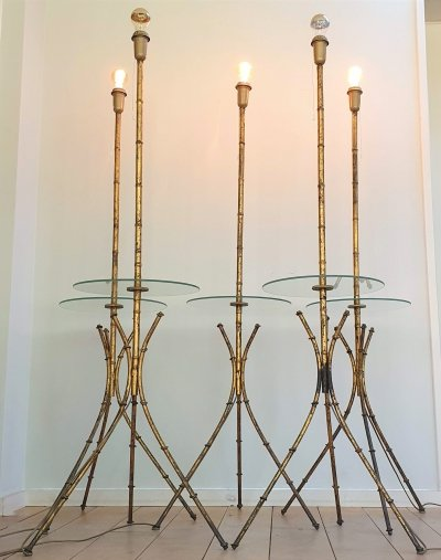 Set of 5 French Gilt Metal Faux Bamboo Floor Lamps with glass side table, 60s