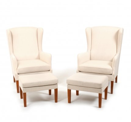 Pair of Danish Wingback Lounge Chairs with ottoman