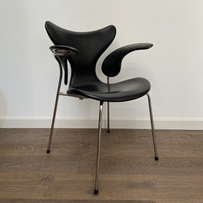 Arne Jacobsen 'Lily' armchair in black leather, 1990s