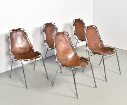 Set of 5 'Les Arcs' chairs selected by Charlotte Perriand, 1960s