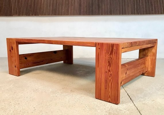 Very Large Brutalist Pinewood Low Coffee Table from Sven Larsson, 1970s