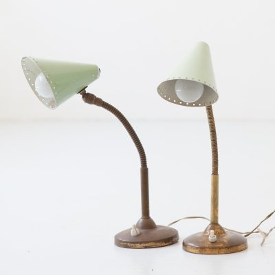 Pair of abat jour in brass with light green shade, Italy 1950s