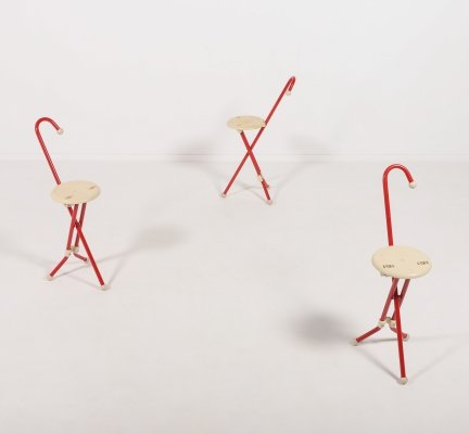 Set of 3 'Ulisse' Walking Stools by Ivan Loss for Sandrigarden, Italy 1980s