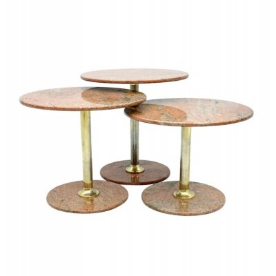 Set of Three Red Marble & Brass Side or Nesting Tables, 1970s