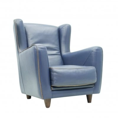 3 x Blue Leather Lounge Chair Bergère by Baxter, Italy