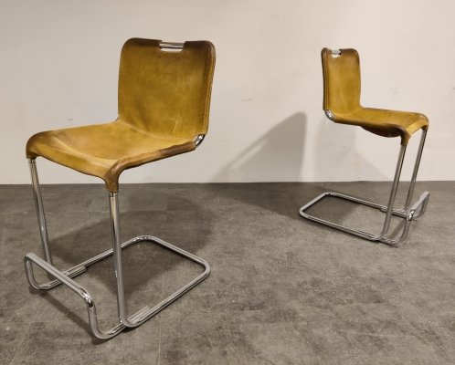 Vintage cantilever leather bar stools, 1960s