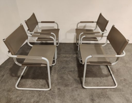 Set of 4 cantilever dining chairs, 1980s
