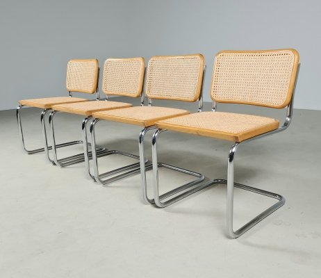 Set of 4 signed Cesca chairs by Marcel Breuer for Gavina, 1970s