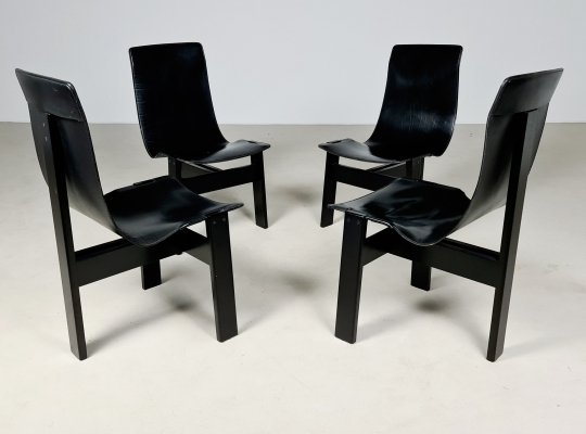 Set of 4 'Tre 3' chairs by Angelo Mangiarotti for Skipper Italy, 1970s