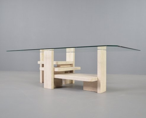 Vintage travertine & glass coffee table by Willy Ballez, 1970s