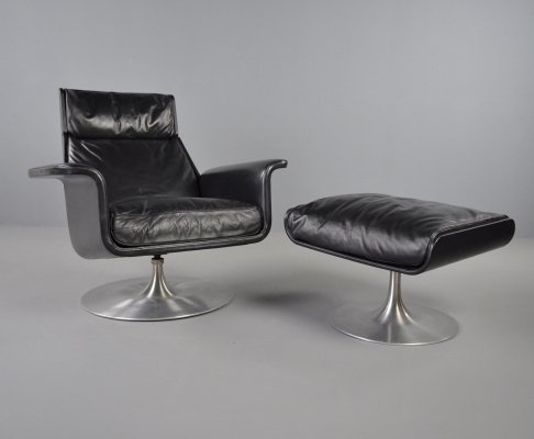 Hans Kaufeld 'siesta 62' lounge chair + ottoman by Jacques Brule, 1960s