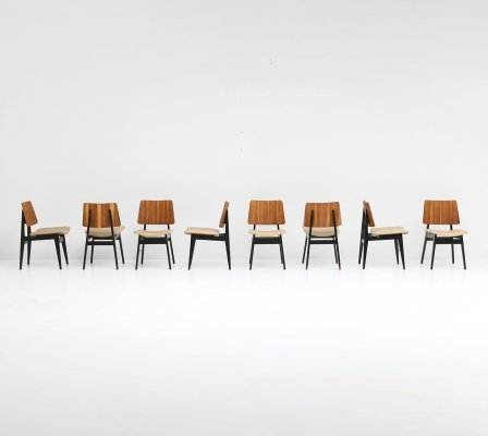 Set of 8 dining chairs by Jos de Mey for Luxus, 1950s