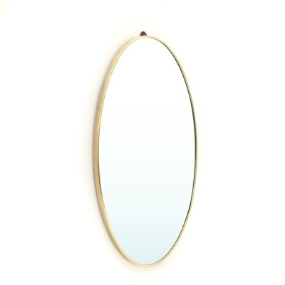 Oval mirror with brass frame, 1950's