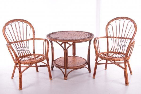 Bamboo Seating set with Table & two chairs, France 1960s