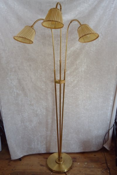 Large Swedish brass floor lamp with three points of light, 1940's