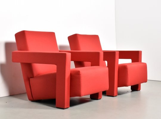 Pair of Utrecht armchairs by Gerrit Rietveld for Cassina, 1990s