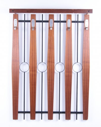 Vintage Wall coat rack with metal & wood with 5 hooks, 1960s