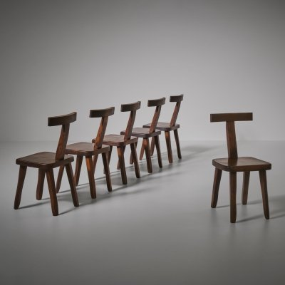 French Sculptural Dining Chairs in stained Elm, 1960s