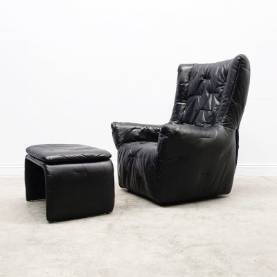 1980 Large High Back Black Leather Lounger with Ottoman