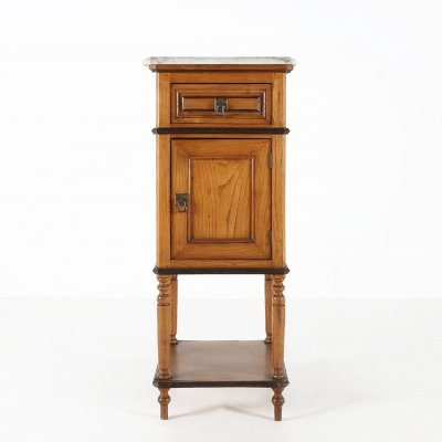 Nightstand in wood & marble, 1940s