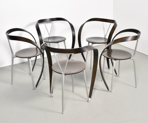 Set of 5 Rever dining chairs by Andrea Branzi for Cassina, 1990s