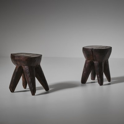 Pair of French Hand Crafted wooden stools, 1960s