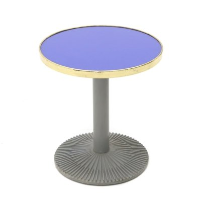 Coffee table with blue glass & brass top, 1980's