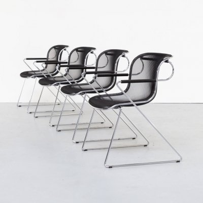 Set of 4 Charles Pollock 'Penelope' chairs for Castelli, 1970s