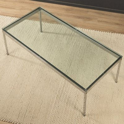 1970s coffee table in steel & glass