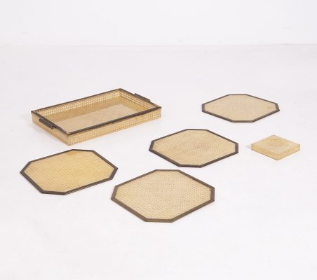 Serving set for Bar in Lucite, rattan & brass by Alberto Sordi