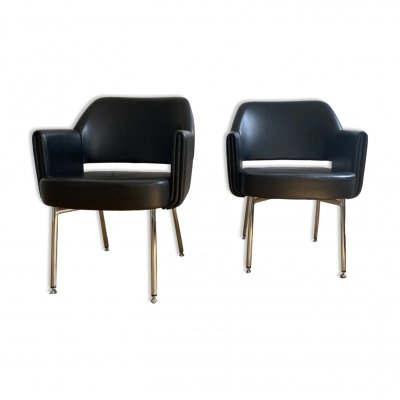 Black leatherette 'Deauville' club chair by Airborne, 60's