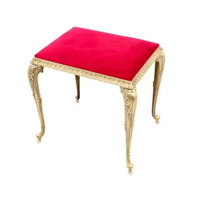 Decorative Brass Stool with Red Fabric, circa 1970s